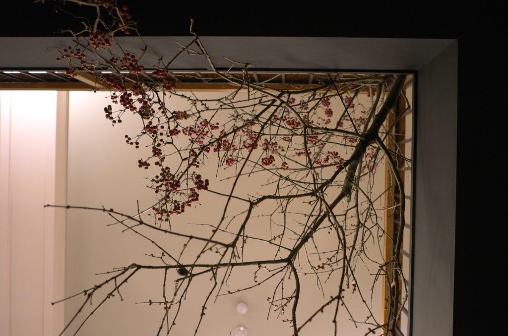 店内の壁に飾っている木の枝と木の実