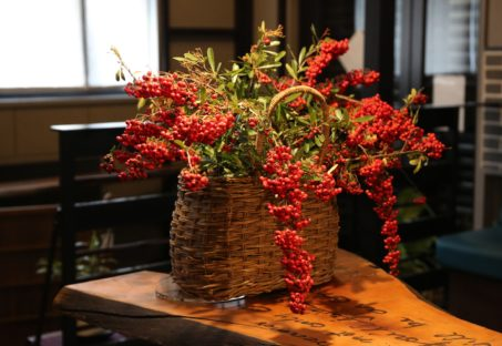 店内に飾られた季節の植物